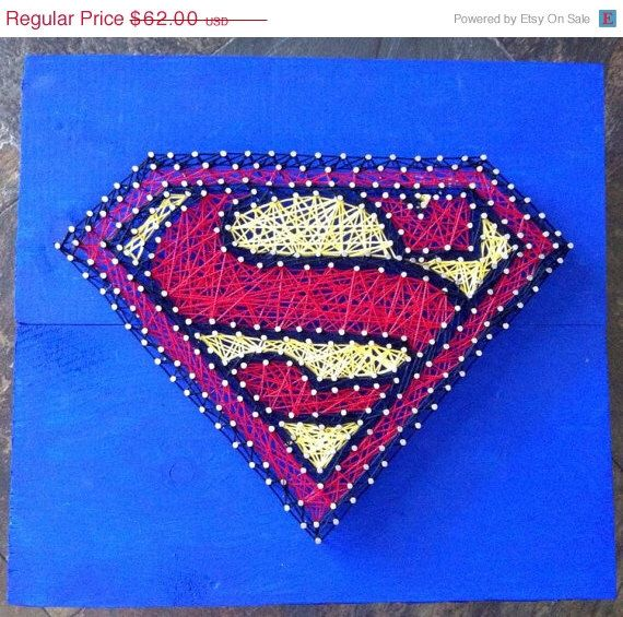 Superman String Art by NailedItDesign on Etsy https://www.etsy.com/listing/207827840/superman-string-art
