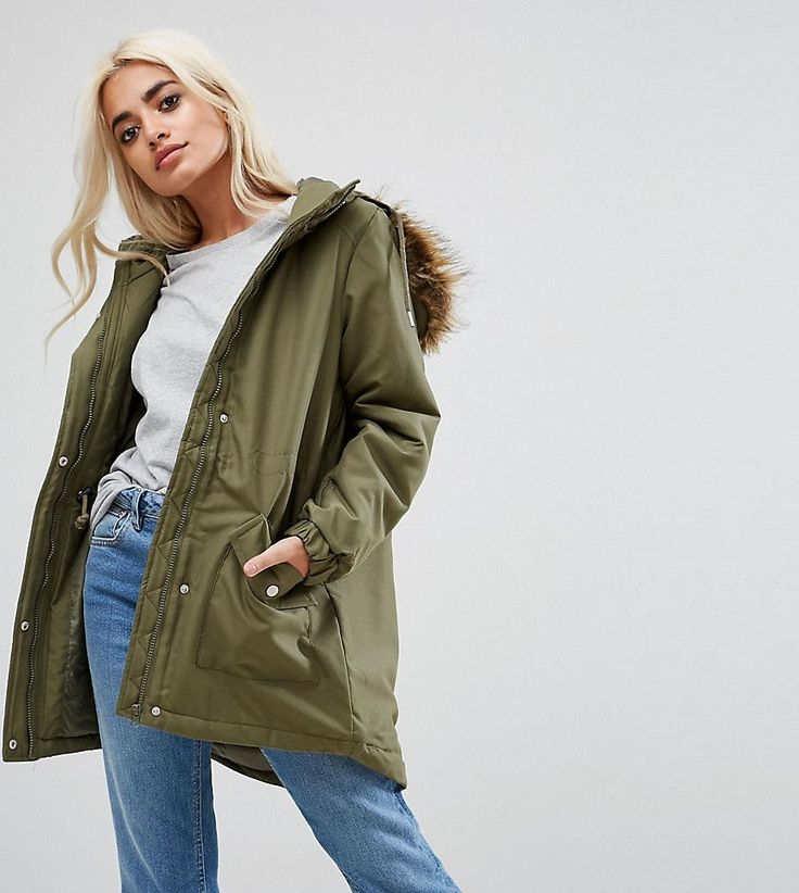Noisy May Petite Parka Jacket With Faux Fur Trim Hood - Green