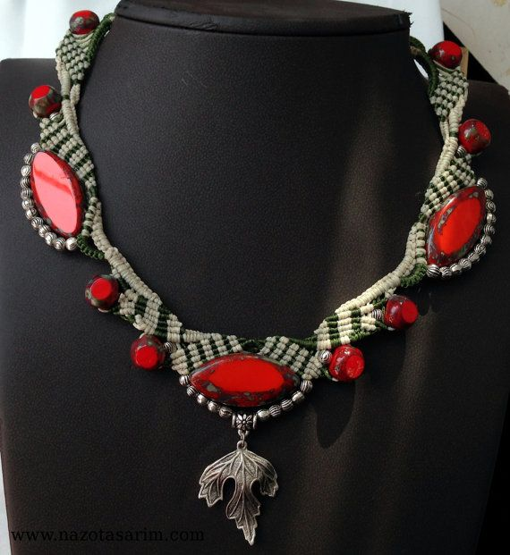 Necklace  Macrame Necklace...  Red Necklace.. Micro by NazoDesign, $47.00
