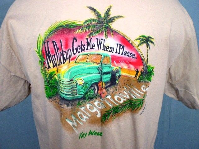 Jimmy Buffett's Margaritaville Key West Tan XL Pocket T-Shirt My Pickup Gets Me #JimmyBuffettsMargaritaville #GraphicTee