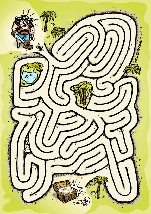 Ahoy stranger! Get me to the treasure quick! Arrr!  CLICK on the picture to download the high quality PDF maze. » Purchase this maze as print.  Or use the