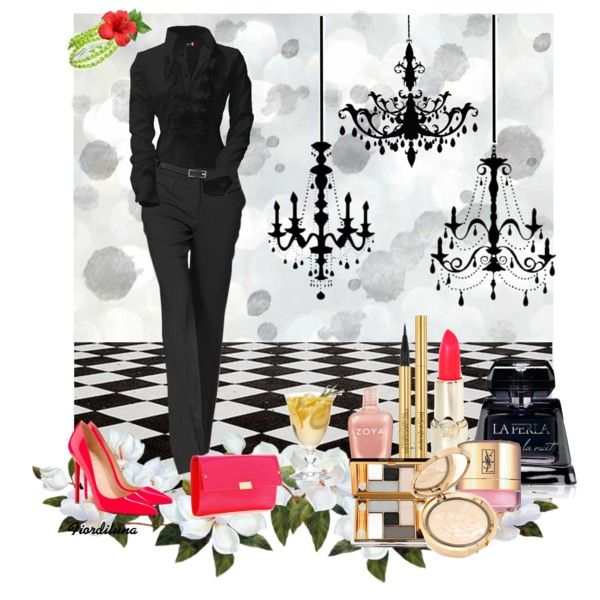"""""""Black and coral for a party night"""" by fiordiluna on Polyvore"""