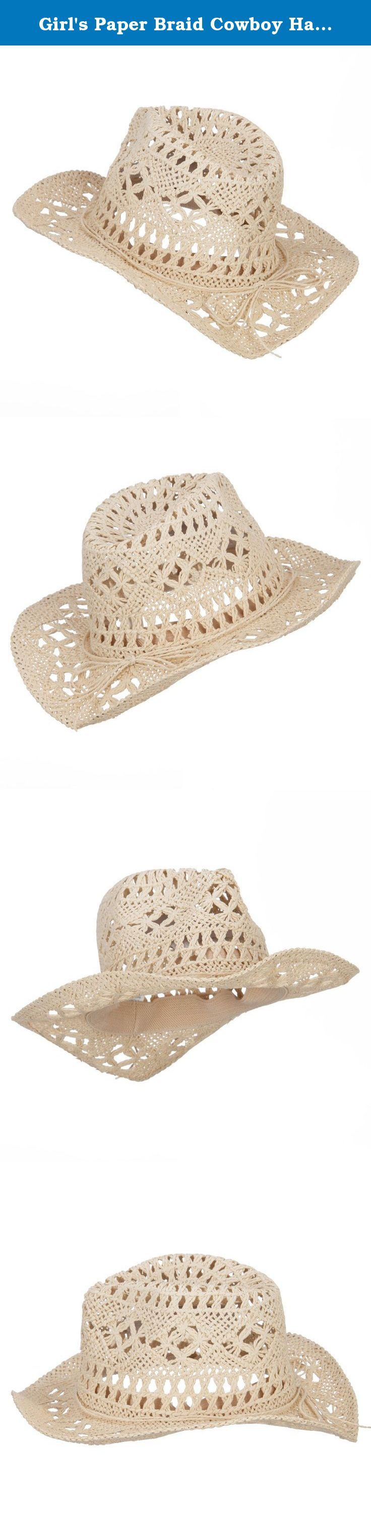 Girl's Paper Braid Cowboy Hat - Tan OSFM. Cool paper braid cowboy hat for your little girls. Crushed top crown. Open weave crown. A self tie ribbon band is accented around the crown. Wired and shapeable brim. Side brim is naturally upturned. Our kid's cowboy hat is great for summer trips, adventure and any other summer outdoor activity for your children. Spring and Summer. 12(W) X 13(L) X 5(H) inches. Cool, flexible and thick material. Available in different colors and styles.