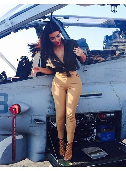 Kim K's visit with troops in Abu Dhabi resulted in some actually nice photos