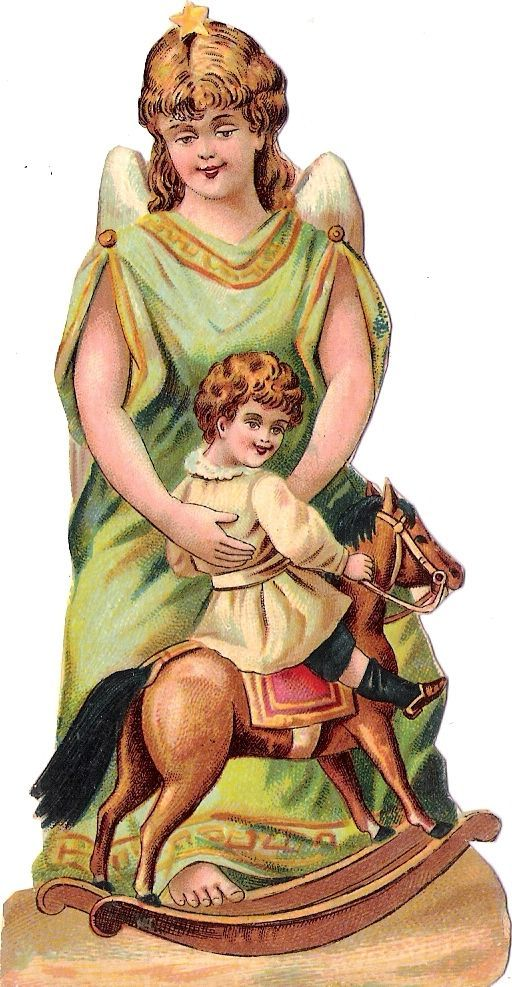 Oblaten Glanzbild scrap die cut chromo Engel angel XMAS rocking horse Kind child: