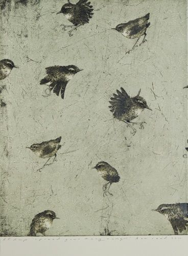 Ben Reid, Spread your Tiny Wings, drypoint, intaglio and woodblock