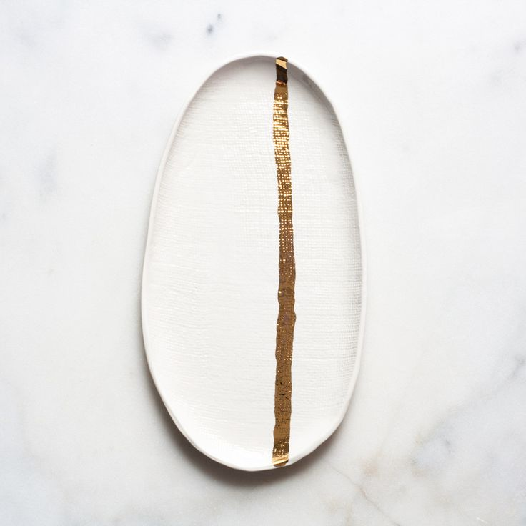 Burlap Tray in White with Gold Stripe – Suite One Studio