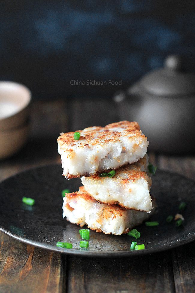 Turnip Cake-Radish Cake - Classic dim sum cake- Surprise your guests by this yummy rice cake with turnip, sausages, mushroom and onions.