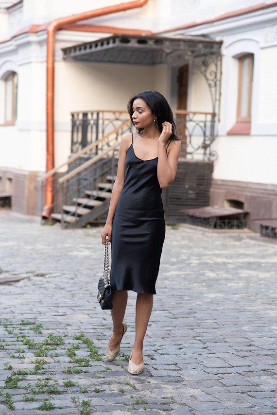 06ee72ecead Natural silk slip dress black midi Silk cami dress Black silk chemise Silk  camisole Silk satin dress