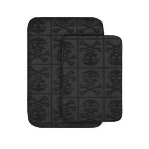 Garland Rug Skulls Black 20 in x 30 in. Washable Bathroom 2 Piece Rug Set-SB-2PC-BLK at The Home Depot