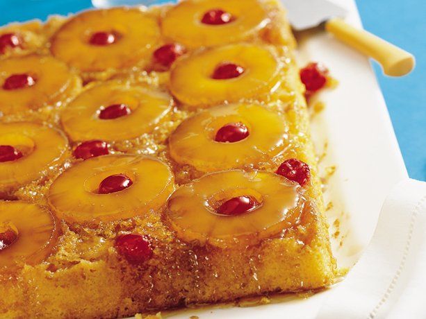 betty crocker: easy pineapple upside-down cake. (you'll need: yellow cake mix + ingredients, 1/4 c butter, 1 c brown sugar, 20 oz pineapple slices & juice, 6 oz maraschino cherries without stems, drained.)