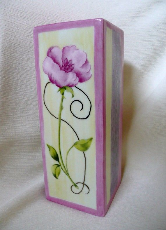 Hand painted  pink porcelain bud vase by variousstyles on Etsy, £28.00