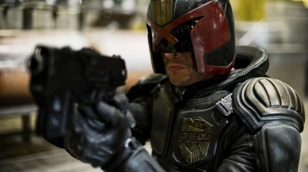 Karl Urban as Judge Dredd in Dredd.