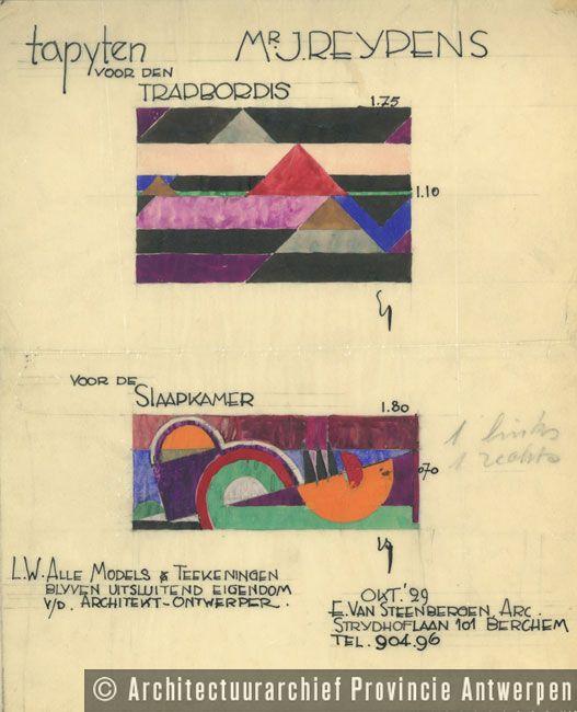 Tapijtontwerp voor de woning Reypens (Mortsel, 1929). Architectuurarchief Provincie Antwerpen (NL).