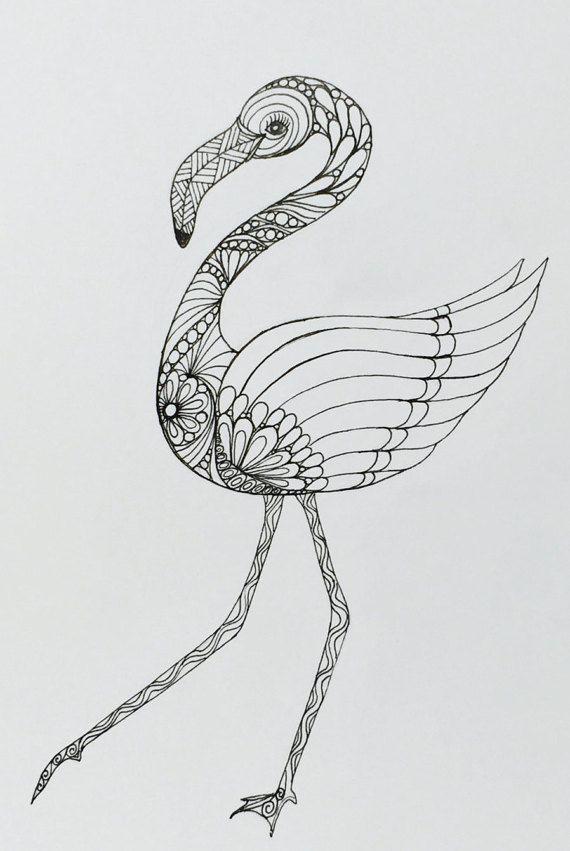 Flamingo art zentangle drawing