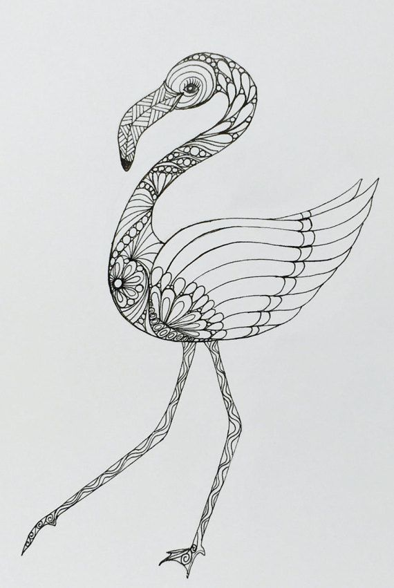 Flamingo art zentangle drawing of flamingo wall by TheTranquilFrog