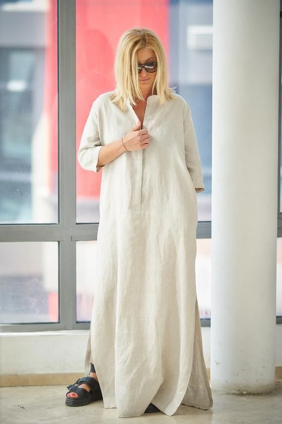 Linen Dress Linen Kaftan Linen Abaya Linen Maxi Dress Linen