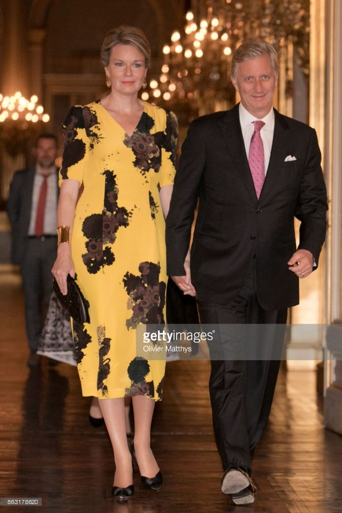 King Philippe of Belgium and Queen Mathilde of Belgium attend a concert to honor young talents in the Royal Palace on October 19, 2017 in Brussels, Belgium.