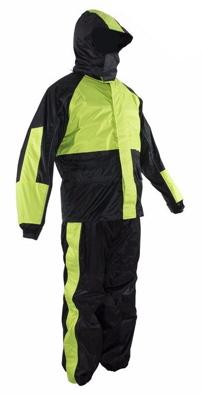 Black & Fluorescent Rain Suit With Zippered Side Seams