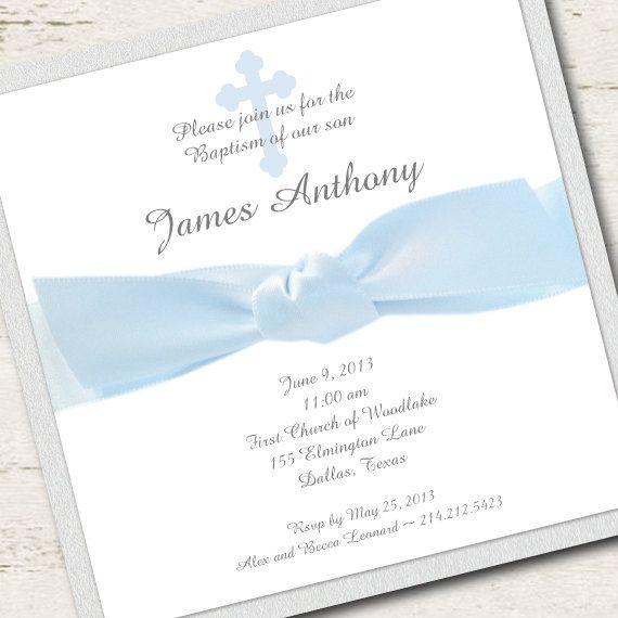 Navy blue  Boy Baptism Invitation Christening Blue Ribbon by LibbyKateSmiles, $1.95