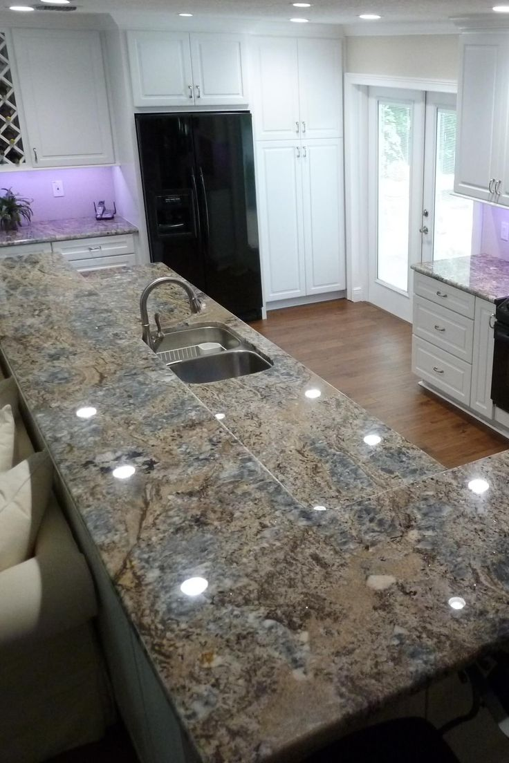 Blue Flower Granite Countertop White Cabinet Dark Hardwood ...