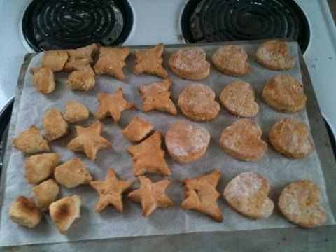 Peanut butter dog biscuits - different cookie cutters :)
