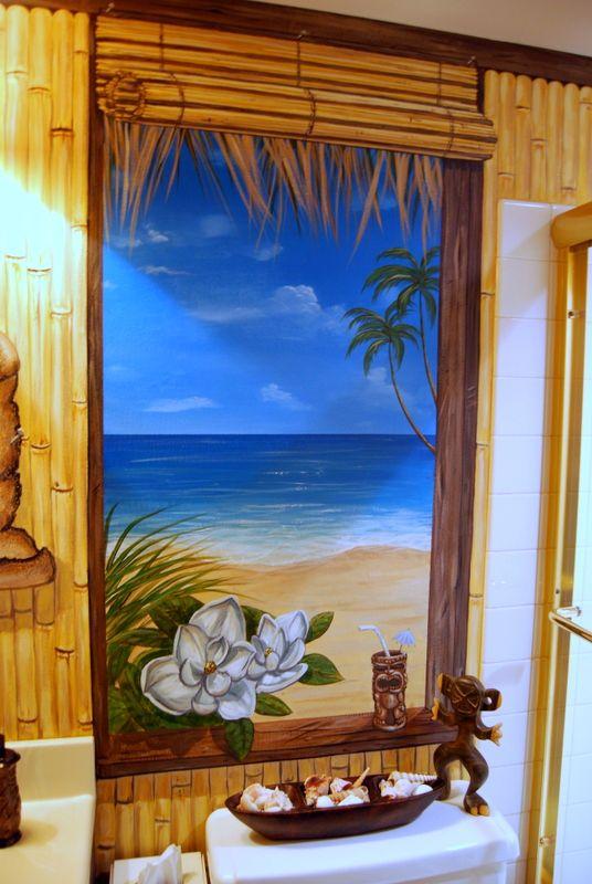 Hawaiian Beach Themed Mural by Tom Taylor of Wow Effects pain  Hawaiian Beach Themed Mural by