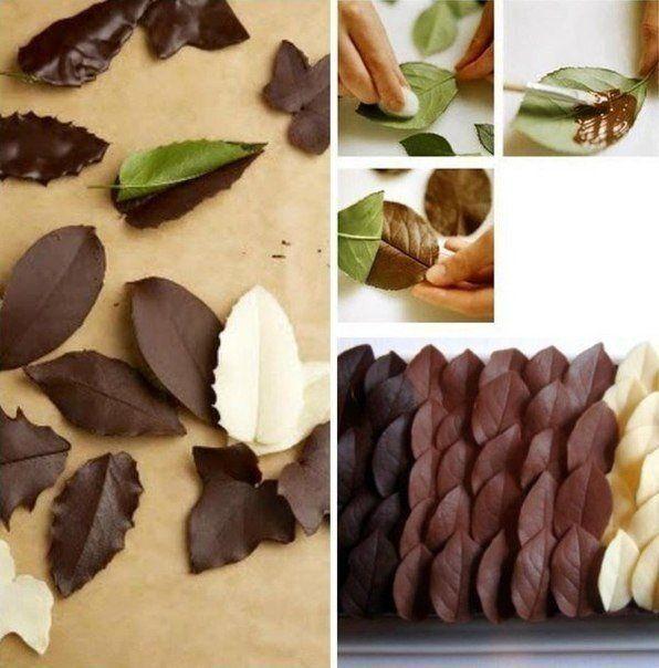 Делаем листья для декора десертов