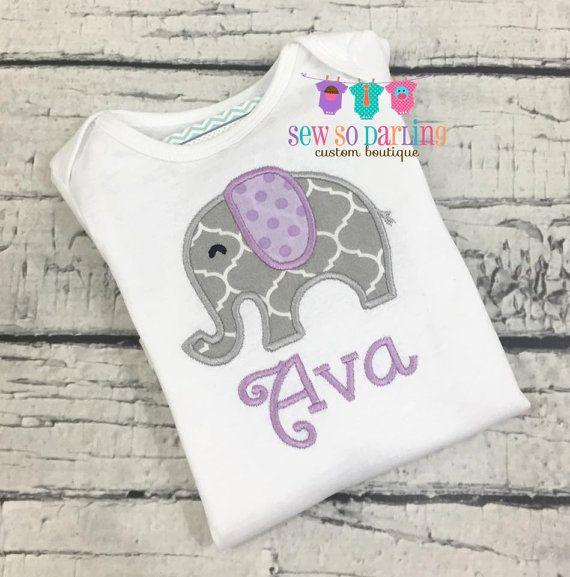 Baby girl elephant outfit Purple Gray Elephant shirt baby