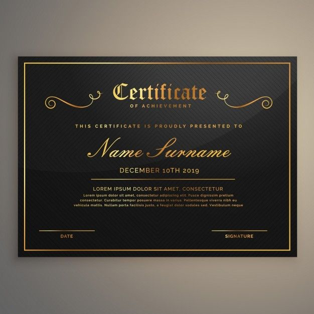 Black certificate with gold ornaments   Free Vector