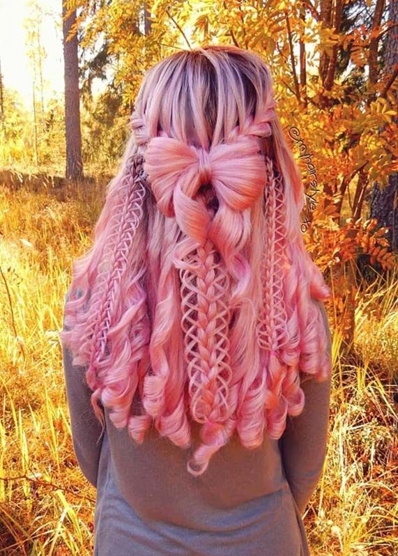 Fabulous Pink Braided Hairstyles with Curls in 2018