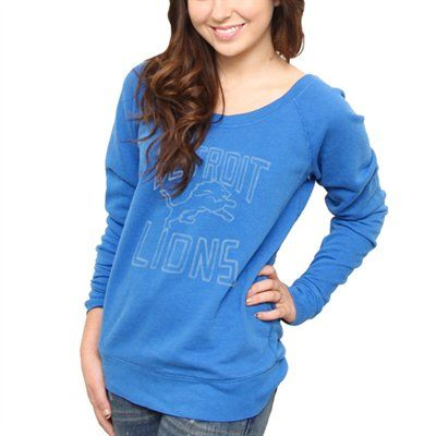 Detroit Lions Ladies Classic Off-The-Shoulder Sweatshirt - Light Blue