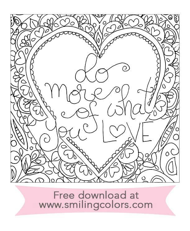 Free Adult Coloring Printable Download Pdf Valentine Printables Smilingcolors