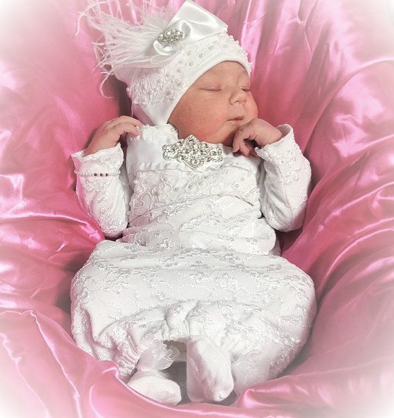 Newborn Baby Girl Infant Layette White Lace Coming home gown    This is Victorian Inspired Coming home outfit for baby girl.... It has beautiful