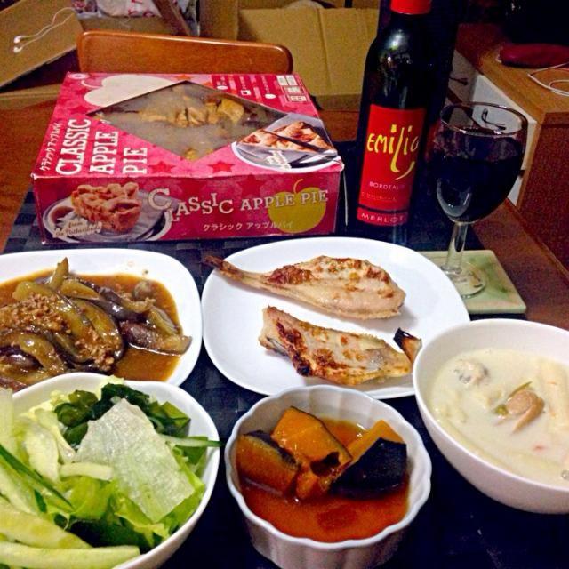 昨晩の深夜の晩餐 - 50件のもぐもぐ - 麻婆茄子カワハギ一夜干し南瓜煮付ソーパス【フィリピン風マカロニスープ】 by manilalaki