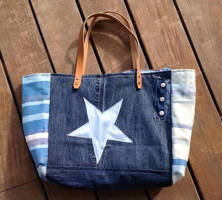 Grand Sac cabas en tissu Jean étoile bleu : Sacs à main par les-damotes