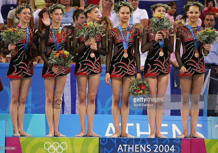 Team Bulgaria stand on the podium after receiving the bronze medal in the rhythmic gymnastics group category on August 28, 2004 during the Athens 2004 Summer Olympic Games at the Galatsi Olympic Hall in Athens, Greece.
