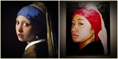 """da fob girl with da pearl earring""-2012  (my visual interpretation)  x  Oils on canvas"