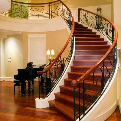 Luxurious Dark Brown Wooden Stair Design