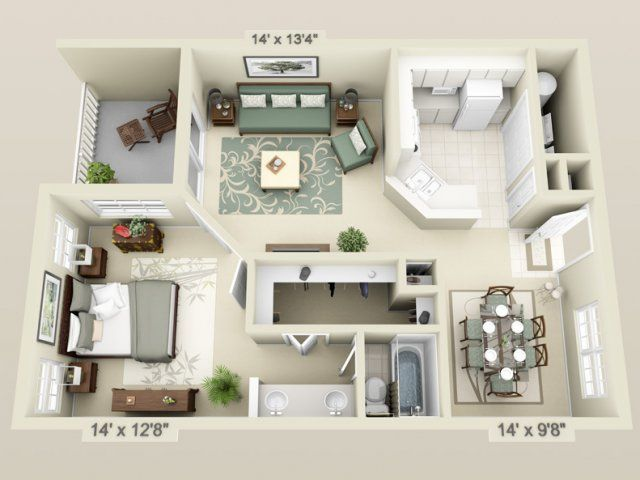 Apartment 3d floor plans 3d floor plan image 2 for the 1 for Small apartment design 3d