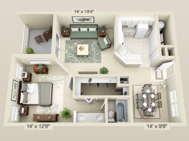 78 best images about apartment ideas on pinterest for Studio apartment plans 3d
