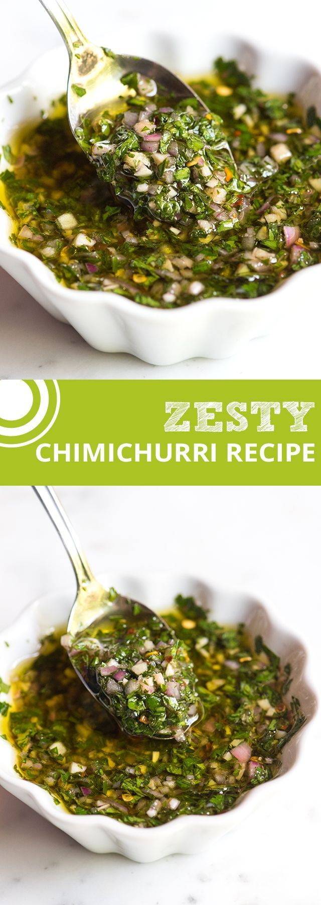 Zesty, Green Chimichurri Sauce -- made with fresh herbs, garlic, vinegar and olive oil that livens pretty much anything you throw at it | @inspiredtaste inspiredtaste.net