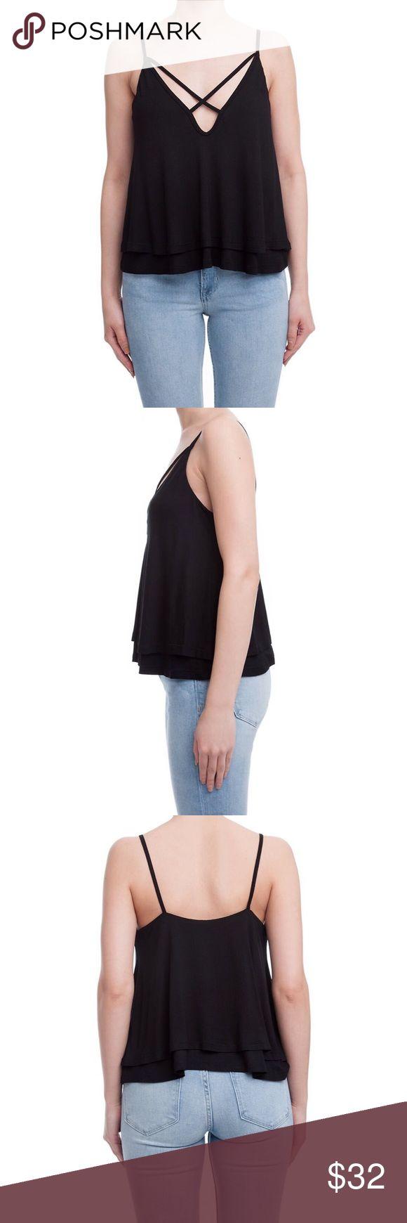 Christine Tank Lush Clothing Line crisscross detail two layer tank top. Color: Black Lush Tops Tank Tops