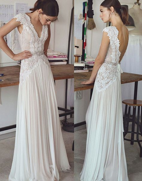 A-Line V-Neck Cap Sleeves Backless Chiffon Wedding Dress,V Neck Beach Wedding Dress,563