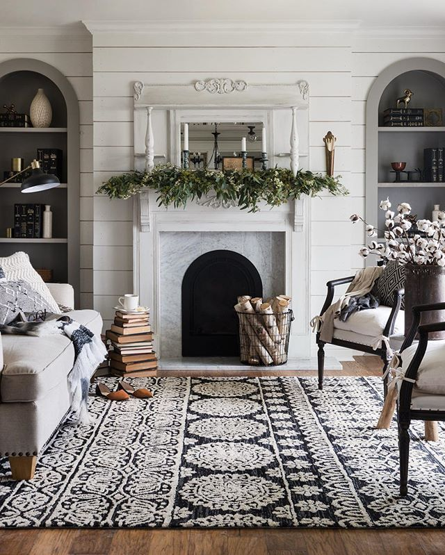 awesome Cozy transitional fall-to-winter living room styling with fireplace mantel green... by http://www.top-100-homedecorpics.club/living-room-decorations/cozy-transitional-fall-to-winter-living-room-styling-with-fireplace-mantel-green/
