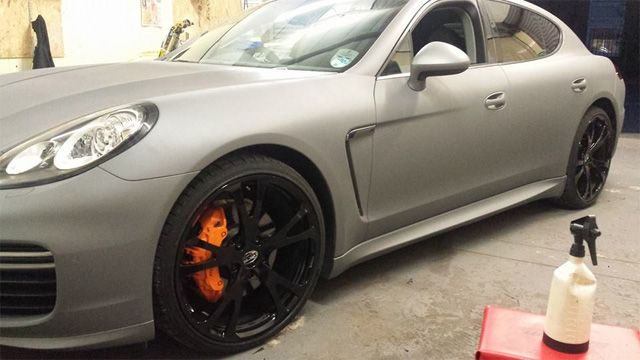 Just dipped at Tinted Windows Manchester. Porsche Panamera with PlastiDip. Visit http://www.tintedwindowsmanchester.co.uk/plastidip-car-dipping