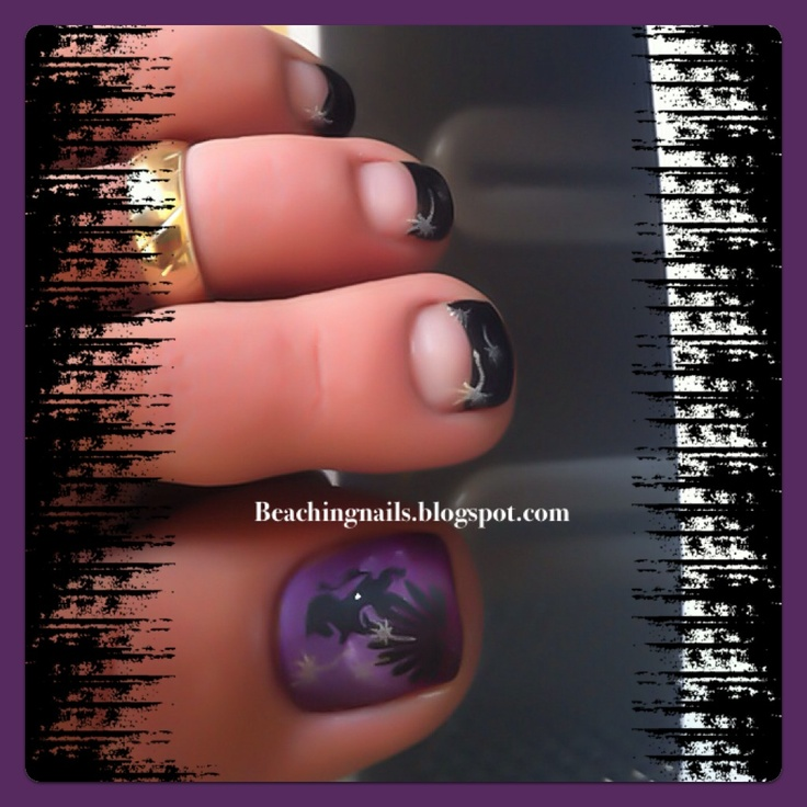 Purple Matte Toe Nail Art