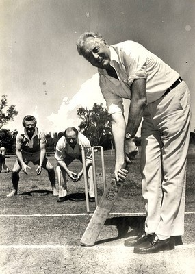 Gough Whitlam bats in a Labor Party picnic cricket event, 1977.