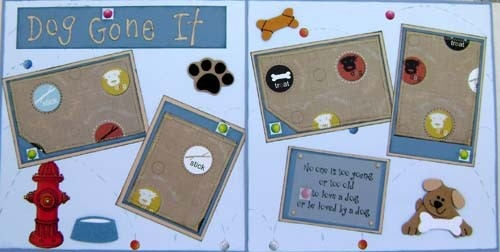Dog Scrapbook Premade Pages 12X12 Dog layout by by kitsnbitscraps, $10.00