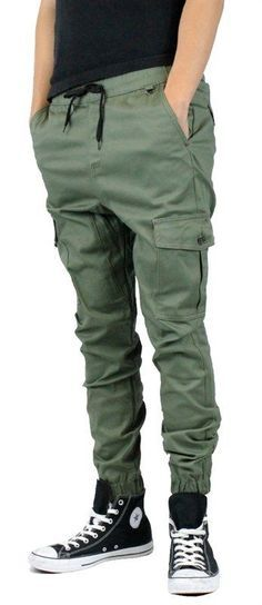 jade green Cargo Joggers Pants 2 Back Pockets two side 2 front pockets  #KaydenK1041 #Cargo